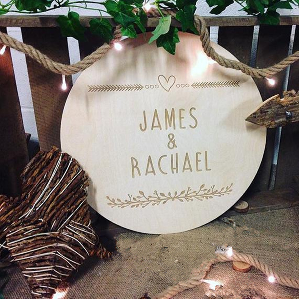 Bride and Groom 8cm Present Wedding Wooden Heart with Letters Engraved