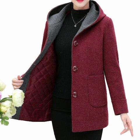 Winter Woman Tweed Hooded Coat Thicken Quilted Overcoat Female Red Green Wool Blends Pea Coats Women Warm Hood Woollen Outerwear Pakistan