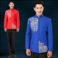 2016 New embroidered chinese tunic suit men's clothing host singer costumes formal dress wedding suit dress sets Suit +pants