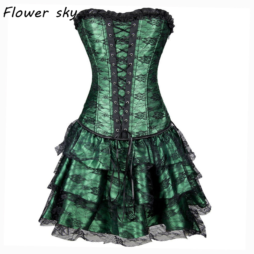 Lace   Corset   + Skirt Sexy Women   Corset   and   Bustier   Burlesque Club wear Gothic   Corset   Dress lace Waist Trainer Green Black Red set