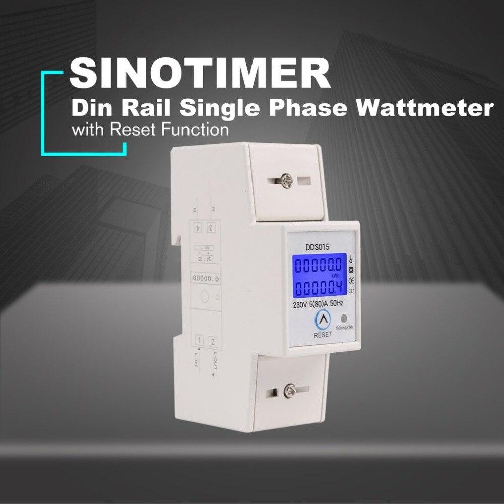 230 v Rail Din Monophasé Wattmètre Watt Consommation Électronique Compteur D'énergie AC avec Fonction De Réinitialisation DDS015
