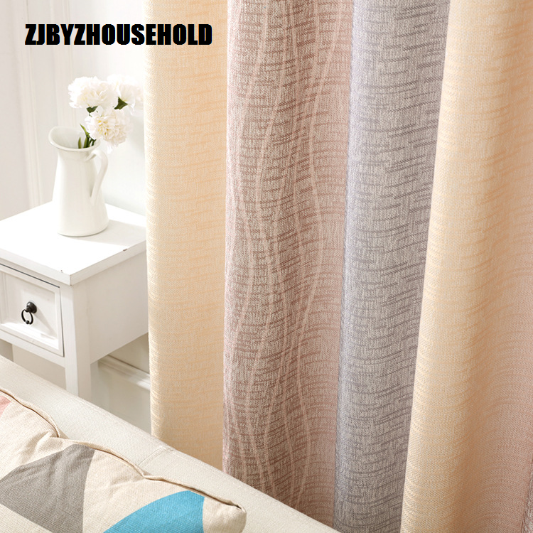 White Silk Cotton Hemp Color Gradient Shading Printing Water Waves Curtains For Living Room Bedroom Shading
