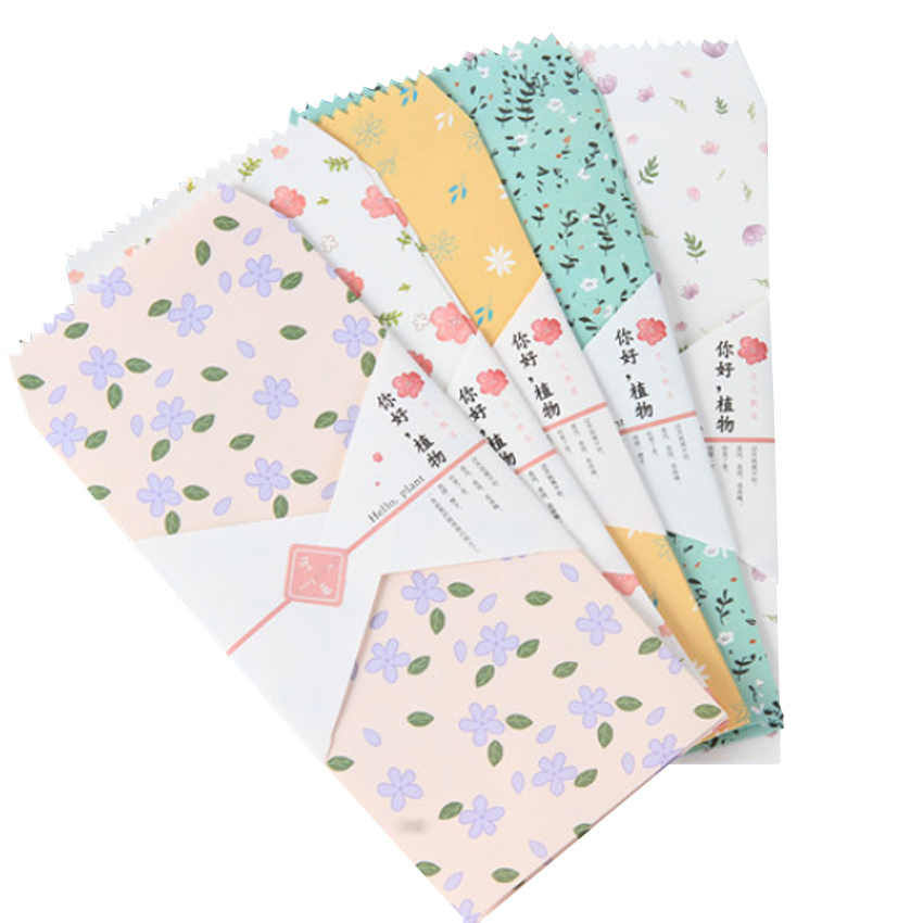 50pcs/lot Plants Style Windown Paper Envelope Ticket Greeting Card Cover Bag Gifts Envelopes Stationery Wholesale