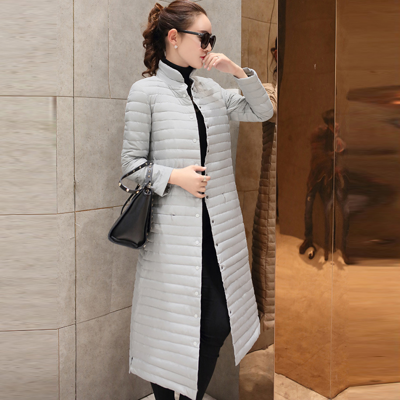 White Duck   Down     Coats   Casual Outwears Women Long Light Thin   Down     Coats   Spring Autumn Stand Collar Slim   Down   Jacket RE2008