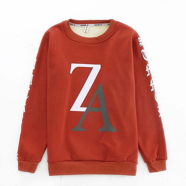 Desgaste de los niños del invierno del muchacho ZA con engrosamiento de terciopelo de manga larga T-shirt recreacional cuhk render sin forro de algodón