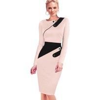 Black Dress Tunic Women Formal Work Office Sheath Patchwork Line Asymmetrical Neck Knee Length Plus Size Pencil Dress B63 B231 7