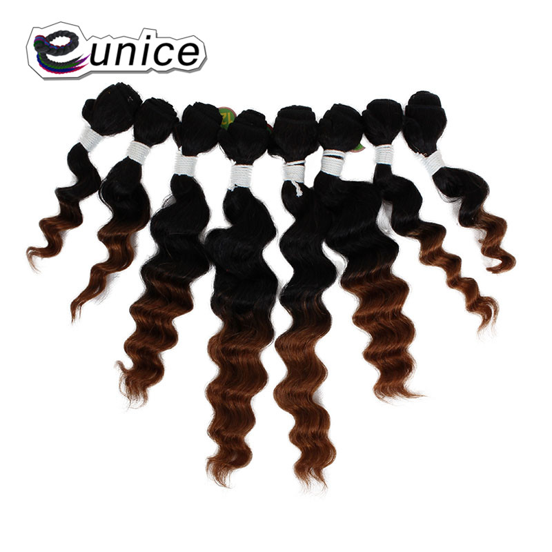 "Eunice Hair Weaving Loose Wave bundles 8pcs/lot Ombre Synthetic Hair Extensions Sew in Machine Double Hair Weft 8""10""12""14"""