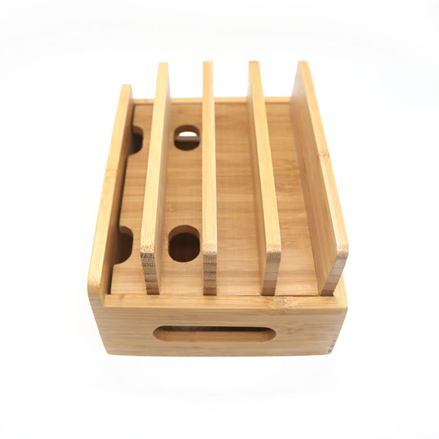 Multifunktions Bambus Handyhalter Kabel Organizer Stehen Ladestation Für iPhone Für Samsung Handy/Tablet Universal