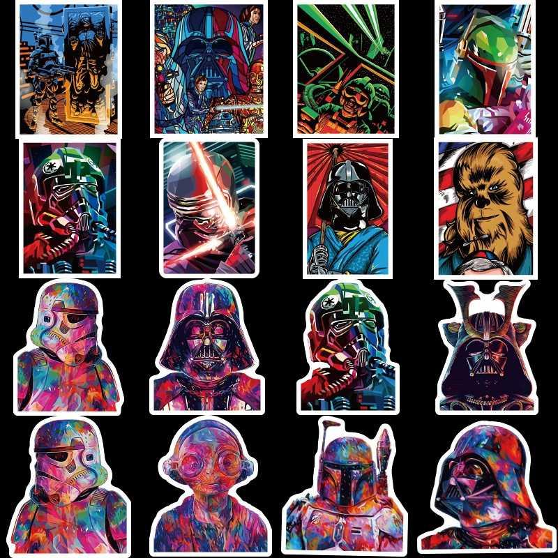 50 adet Darth Star Wars Çıkartmalar Vader Usta Yoda Anime Sticker Dizüstü Karalama Defteri Dizüstü Kaykay Bagaj Su Geçirmez Oyuncaklar Hediye