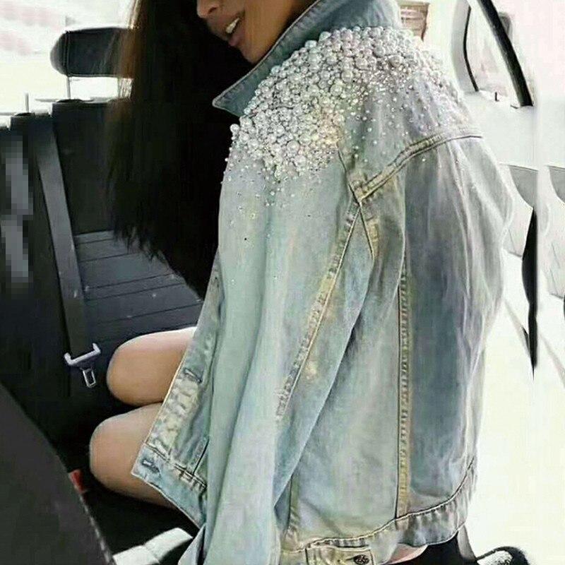 Poitrine Manches Veste Patchwork Chicever Unique Jean Mode Marée Longues Pour Jacket Blue Manteau En De Revers Automne Femmes Perles Vestes Femme 8nwPdqEvrP