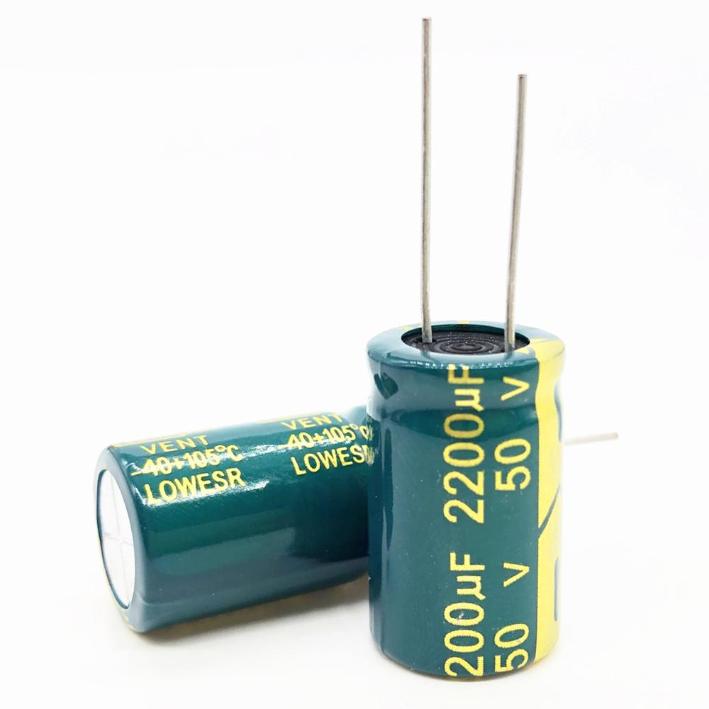 New Good Quality 50V 2200UF 16*25mm Low ESR/Impedance High Frequency Aluminum Electrolytic Capacitor 2200uf 50v 50v2200uf 20%