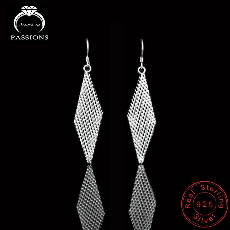 Hot Etnische stijl Drop Earrings Jewelry Big Mesh geometrische Rhombus lange oorbellen 925 Sterling zilveren Dangle Earring voor vrouwen cadeau
