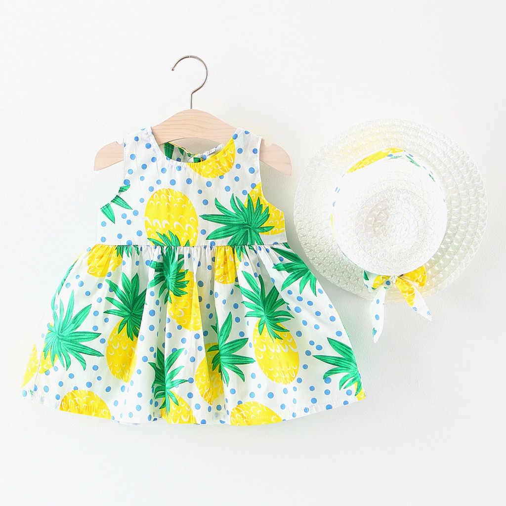 CHAMSGEND малышей Детская одежда для девочек летние фрукты платья принцессы шапка повседневная одежда комплект 19MAY7 P35