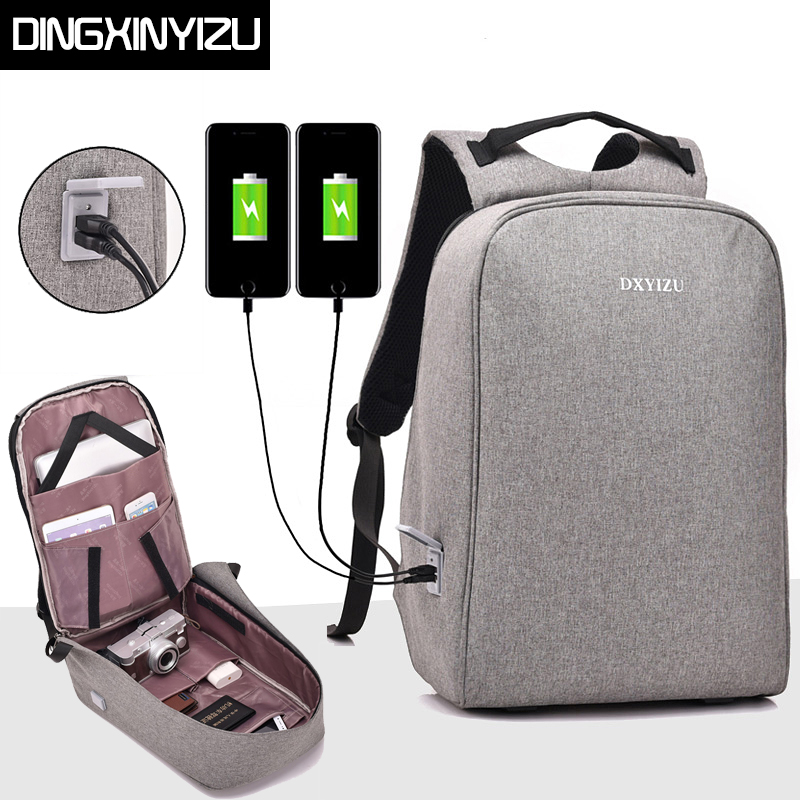 DINGXINYIZU Anti-thief Design USB charging Men 15inch Laptop Backpack Gray Women School Bag Male Daypack Mochila Travel Backpack design male leather casual fashion heavy duty travel school university college laptop bag backpack knapsack daypack men 1170g