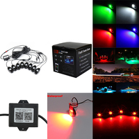 8 Pods RGB Waterproof Decoration Rock Lights Multi Color Deck Atmosphere Lamp with Bluetooth Control Box for Marine RV Boat