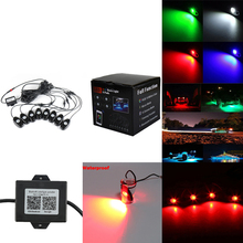 8 Pods RGB impermeable decoración Rock luces Multi Color cubierta atmósfera lámpara con caja de Control Bluetooth para Marina RV barco