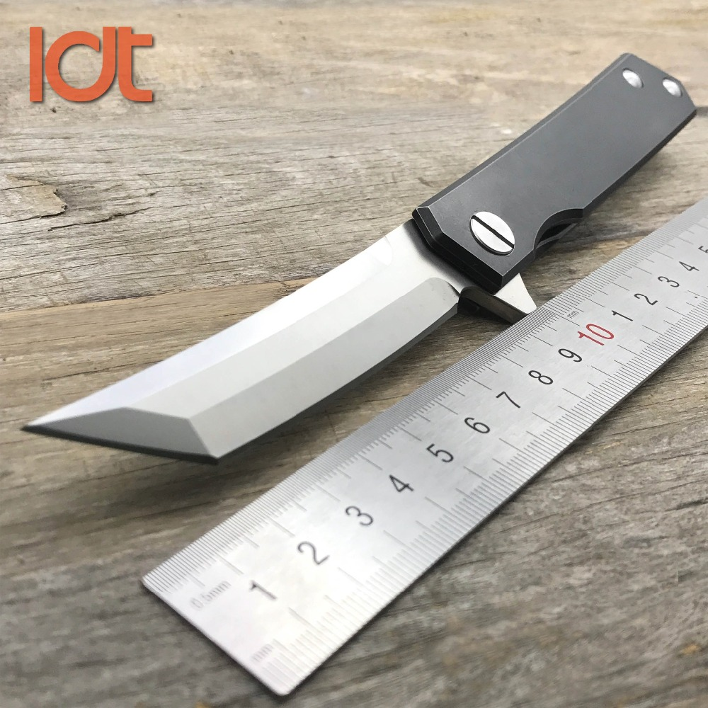 LDT Katana Folding Knives D2 Blade Titanium Handle Ceramic Ball Bearing Hunting Survival Knife Camping Outdoor Knife EDC Tools y start twosun folding knife d2 tanto blade ball bearing washer titanium handle outdoor camping hunting pocket knife edc tools