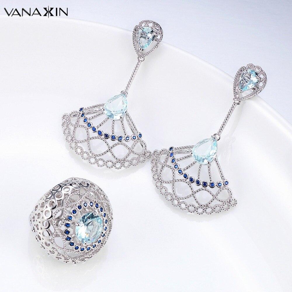 VANAXIN Blue CZ Crystal Jewelry Set For Women Drop Earrings Ring For Girls Trendy Party Jewellery