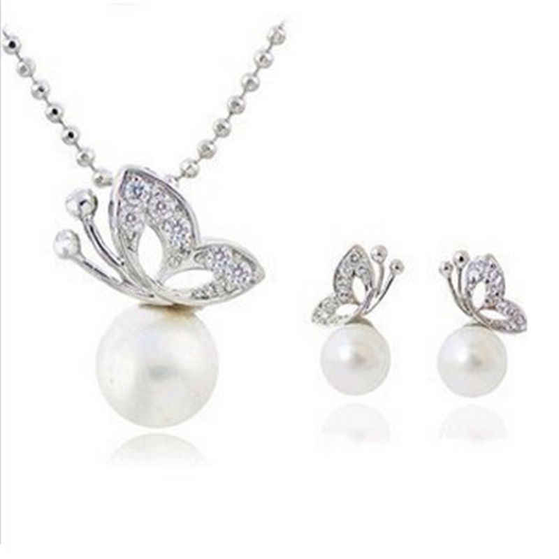 Elegant Temperament Wedding Jewelry Rhinestone Crystal Pearl Necklace Earrings Jewelry Set Silver Butterfly Bride Accessories