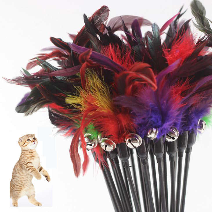 1/5PCS Cat Toys Make Cat Stick Feather With Small Bell Natural Like Birds Random Color Black Coloured Pole Cat Toy