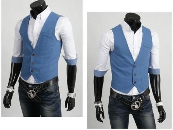 Мода Slim Фитнес Для мужчин жилет весна Для мужчин жилет Блейзер Жилеты цвет 5 Для мужчин Топы корректирующие одежда