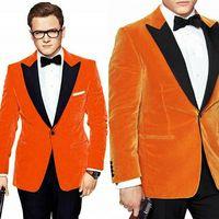 Men's Orange Prom Dinner Velvet Suit Peak Lapel One Button Formal Tuxedos Size