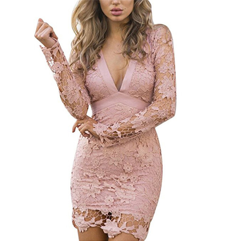 Sukibandra Summer Sexy V Neck Lace Bodycon Party Mini Wrap Dress Pink Black Club  Wear Long Sleeve Backless Women Bow Dresses-in Dresses from Women s ... 33aedc51f177