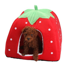 Indoor Cute Strawberry Shape Pet Dog Cat House Foldable Winter Dogs Cats Bed Nest Kennel Pets Sleeping Accessories Supplies