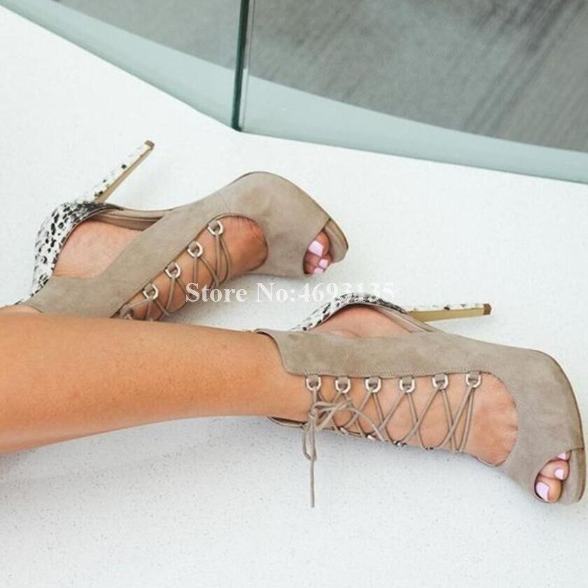 Cruz Moda Alto De Serpiente Y atado Rebaño Sexy Piel Colores Mezclados Cubierta Fiesta Delgada Sandalias Negro Mujeres Zapatos Las Tacón Patrón x47qEwY4r