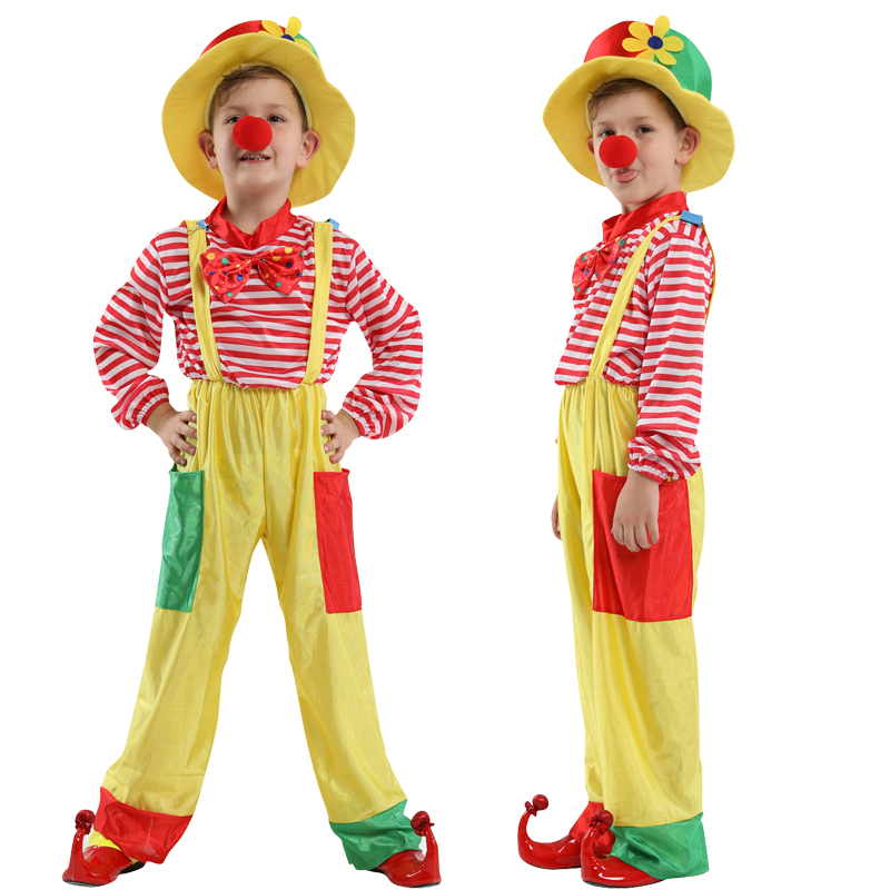 HOT!Halloween Cosplay Costumes Children Funny Circus Clown Naughty Harlequin Uniform Fancy Dress Cosplay Clothing for Boys Girl