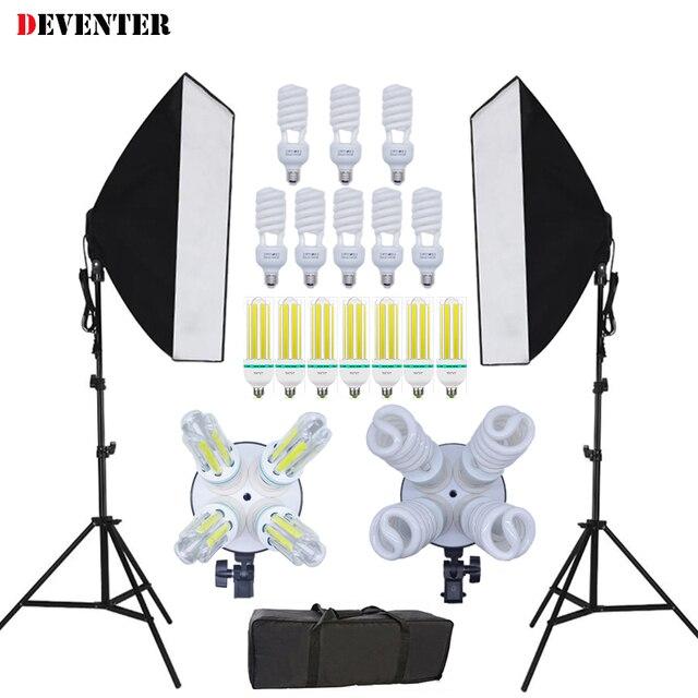 Novo luz contínua de estúdio de fotografia Kit softbox para iluminação de fotografia vídeo e soquete duplo 4 E27 & bolsa tote plugue EU certificado CE