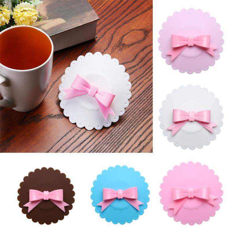 Lovely Bowknot Silicone Cup Lid Heat Preservation Dustproof Bowl Cover Food Grade Home Decor Drinkware Cup Tool