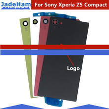New Z5 Compact Back Battery Glass Housing Cover For Sony Xperia Z5Mini E5803 E5823 Back Door Battery Case With Sticker Adhesive suitable for original sony xperia z5 small lcd touch screen digitizer for sony z5 mini e5823 e5803 screen display with frame
