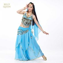 Conjuntos de fantasia de dança do ventre, 5 pçs/set fantasia egípcia dança do ventre traje de bollywood vestido indiano vestido de dança do ventre(China)