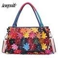 AEQUEEN Women Handbags Vintage Shoulder Bags Genuine Leather Rivet 3D Flower Patchwork Crossbody Messenger Bags Random Color