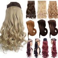 С-noilite 24 дюймов (61 см) длинные Синтетические зажим для волос в волос термостойкие накладные волосы природных вьющиеся волосы из