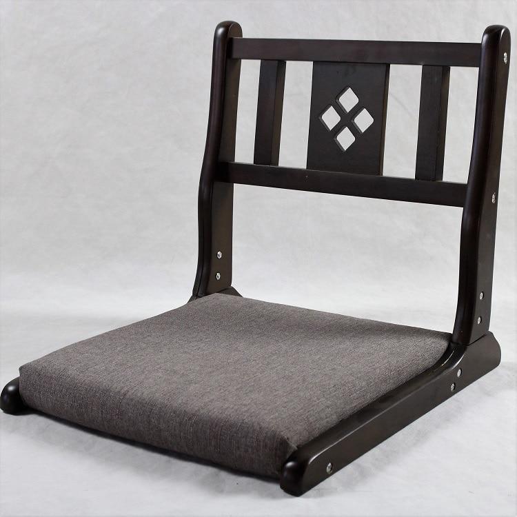 Zaisu Japanese Wooden Legless Floor Chair Folding Legs Tatami Room Leisure Lazy Chair Cushion Seat Home Interior Black Finish