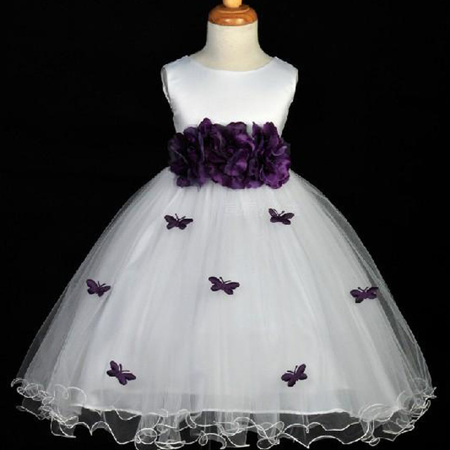 Aliexpress buy fashion white flower girl dresses sleeveless fashion white flower girl dresses sleeveless tulle with purple bow scoop neck sleeveless pageant kid first mightylinksfo