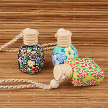 35pcs/Lot  Wholesale 10ml 15ml Perfume Bottle Soft Clay Aroma Essential Oil Bottle Women Cosmetic Container Car pendant