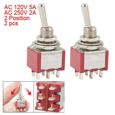 THGS  2 Pcs ON/ON 2 Position Double Pole Double Throw Toggle Switch floating candle magic props white orange black
