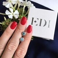 EDI Woman Blue Topaz 925 Sterling Silver Bạc Flower Stud Earrings Solitaire Tăng Vẻ Đẹp Con Thú Thiết Kế Fine Jewelry Cho Phụ N