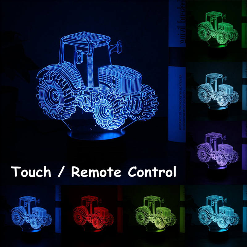 Mising 3D Tractor Shape Night Light Creative Colorful Lights Home Bedroom Night Lamp Remote Control+USB Touch Button Kid's Gift creative tractor shaped 3d led desk light colorful car night light remote control indoor lighting acrylic table lamp wholesale