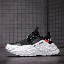Zapatillas de deporte con cordones para hombre, zapatos casuales cómodos de malla, antideslizantes, transpirables para caminar al aire libre, 2019