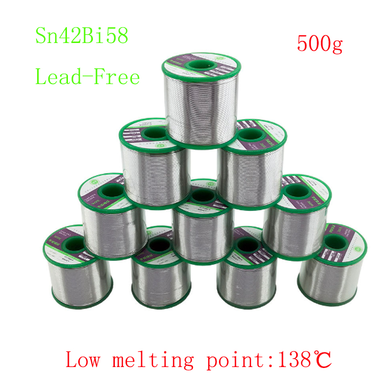 500g/roll 138degree Low Melting Point Sn42Bi58 Lead-Free Tin Wire Solder For Welding Thermal Fuse Temperature Control Element