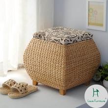 Луи Мода табуреты& Пуфики ротанга скамейка травы, хранения обуви, крытая коробка для хранения, обуви