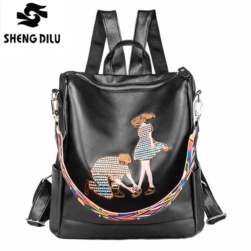 Fashion Embroidery 2017 women backpack PU Leather school backpacks for teenage girls casual big capacity shoulder bags Famale 2018 new fashion backpacks for teenage girls large capacity travel backpack women s pu leather backpack school bags casual women