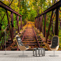 Custom Photo Wallpaper Modern Track Path Beautiful Green Forest 3D Wall Murals Cafe Restaurant Living Room