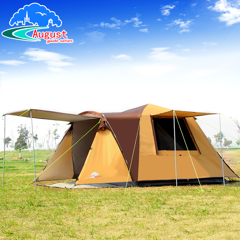 August outdoor 3-4 people all automatic one room one hall, camping, rainproof and anti Sun tent with 2doors 1pair support poles