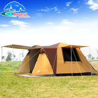 August outdoor 3 4 people all automatic one room one hall, camping, rainproof and anti Sun tent with 2doors 1pair support poles