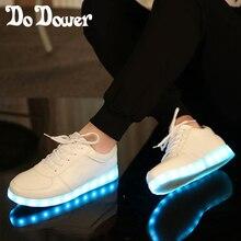 2017 Unisex Führte Leuchtende Schuhe Frauen Leuchtende Schuhe Led Schuhe Erwachsene USB Lade Blinkt Leuchtet chaussure lumineuse weiß